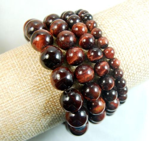 Natural Red Tiger's Eye Gemstone Beads Stretch Bracelet Healing Reiki