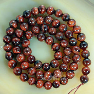 "Natural Red Tiger's Eye Gemstone Round Loose Beads on a 15.5"" Strand"