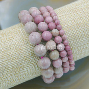 Natural Rhodochrosite Gemstone Beads Stretch Bracelet Healing Reiki