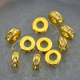 Zircon Pave Rhinestones Spacer Rondelle Connector Metal Finding Charm Beads
