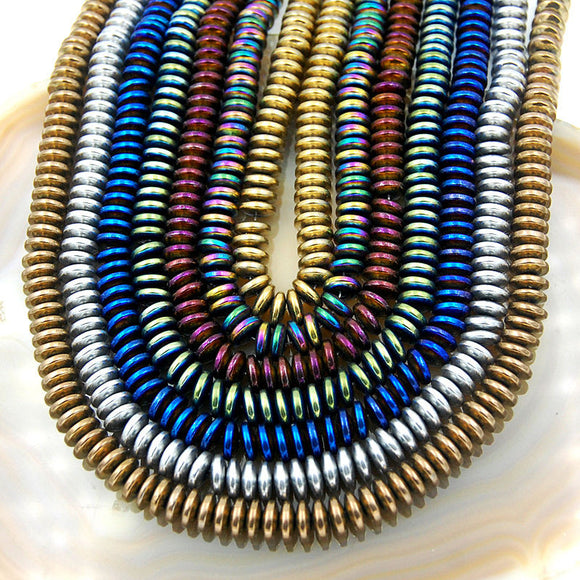 Natural Hematite Gemstone Rondelle Loose Beads on a 15.5