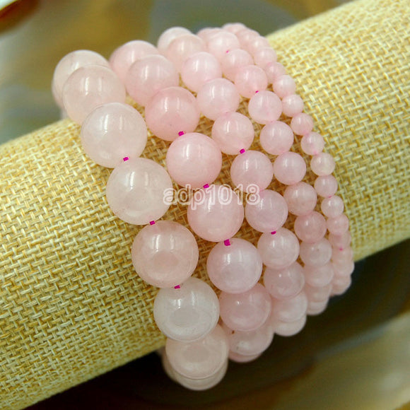 Natural Rose Quartz Gemstone Beads Stretch Bracelet Healing Reiki
