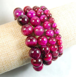 Natural Rose Red Tiger's Eye Gemstone Beads Stretch Bracelet Healing Reiki