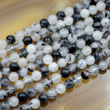 "Natural Rutilated Quartz Gemstone Round Loose Beads on a 15.5"" Strand"