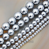 "Natural Hematite Gemstone Round Loose Beads on a 15.5"" Strand"