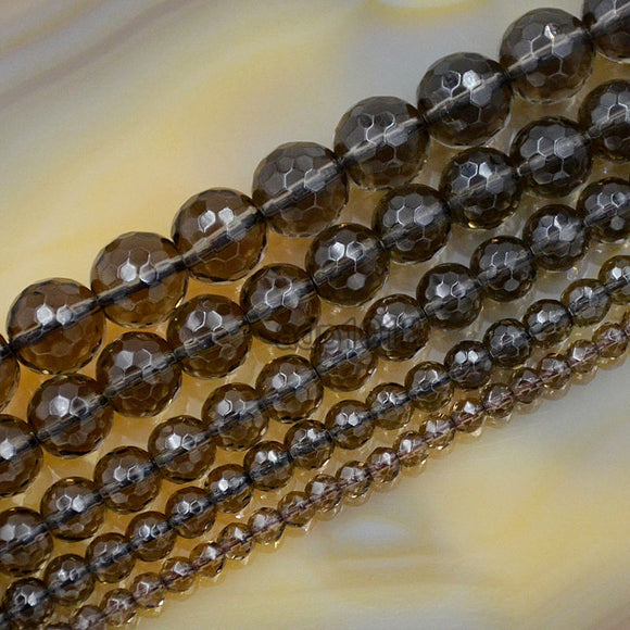 Faceted Natural Smoky Quartz Gemstone Round Loose Beads on a 15.5