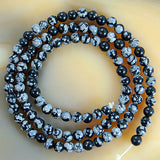 "Natural Snow Flake Jasper Round Loose Beads on a 15.5"" Strand"