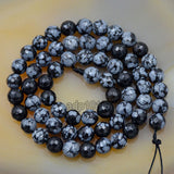 "Faceted Natural Snow Flake Jasper Gemstone Round Loose Beads on a 15.5"" Strand"