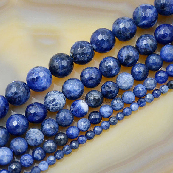 Faceted Natural Sodalite Gemstone Round Loose Beads on a 15.5