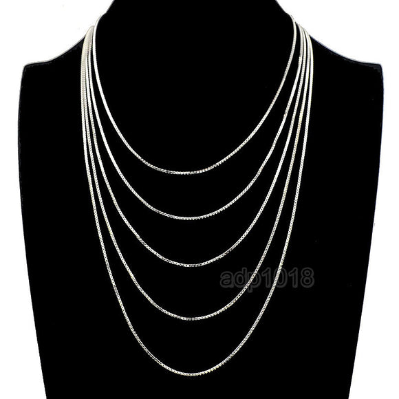 Sterling Silver 925 Italy Box Chain Necklace For Jewelry Making