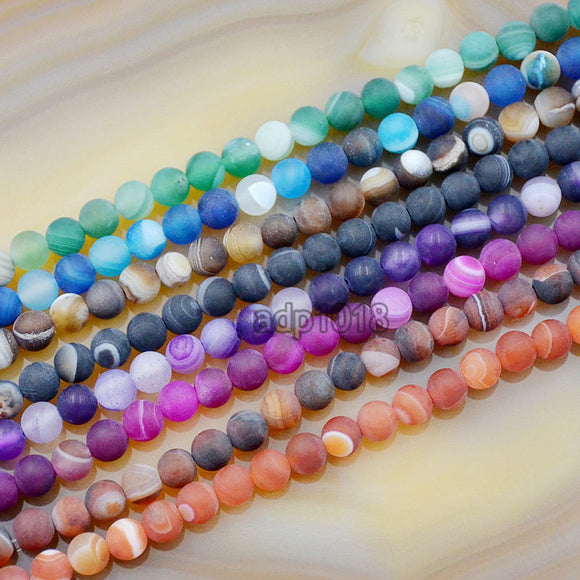 Matte Natural Striated Stripe Agate Gemstone Round Loose Beads on a 15.5