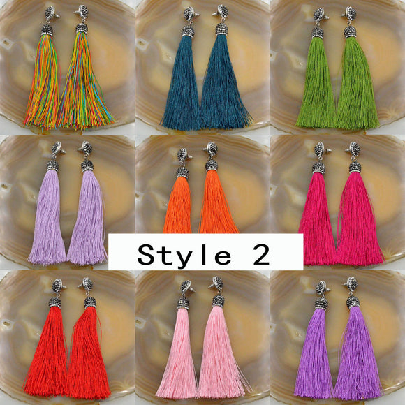 Crystal Silk Tassel Rhinestone Cap Fringe Dangle Stud Earrings (Style 2)