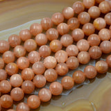 "Natural Sun Stone Gemstone Round Loose Beads on a 15.5"" Strand"