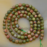 "Faceted Natural Unakite Gemstone Round Loose Beads on a 15.5"" Strand"