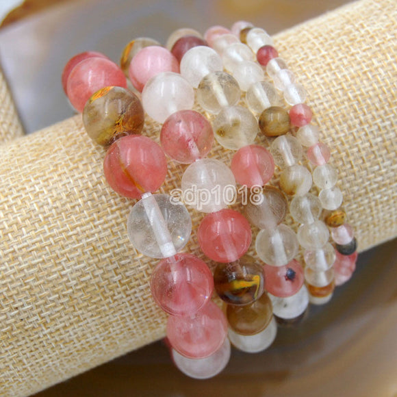 Natural Colorful Volcano Cherry Quartz Gemstone Beads Stretch Bracelet Healing Reiki