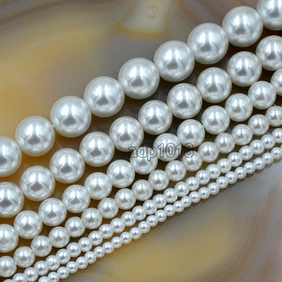 Czech White Satin Luster Glass Pearl Round Beads on a 15.5