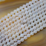 "Faceted Natural White Agate Gemstone Round Loose Beads on a 15.5"" Strand"