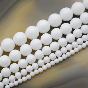 "Matte Natural White Alabaster Gemstone Round Loose Beads on a 15.5"" Strand"