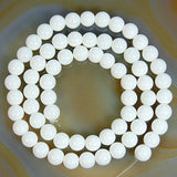 "Natural White Coral Gemstone Round Loose Beads on a 15.5"" Strand"