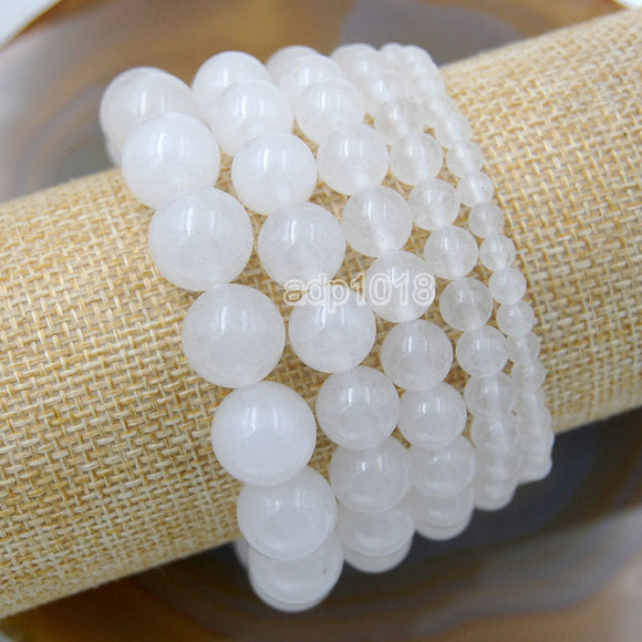 Natural White Jade Gemstone Beads Stretch Bracelet Healing Reiki