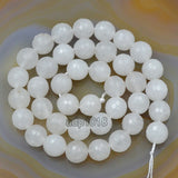 "Faceted Natural White Jade Gemstone Round Loose Beads on a 15.5"" Strand"