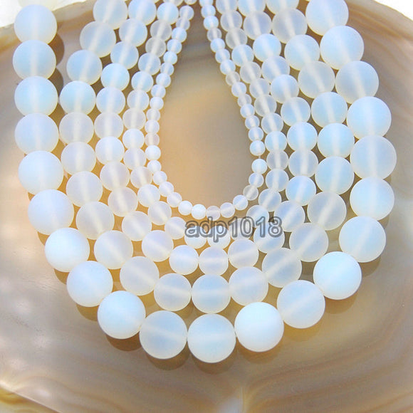 Matte White Opalite Gemstone Round Loose Beads on a 15.5