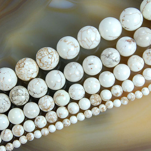 White Turquoise Round Loose Beads on a 15.5