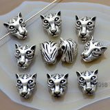 Animal Head Wolf Solid Metal Finding Connector Spacer Charm Beads 10 Pcs
