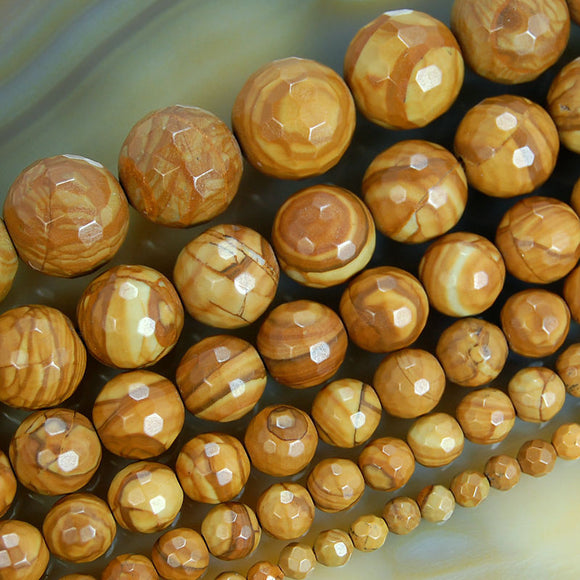 Faceted Natural Yellow Wood Grain Jasper Gemstone Round Loose Beads on a 15.5