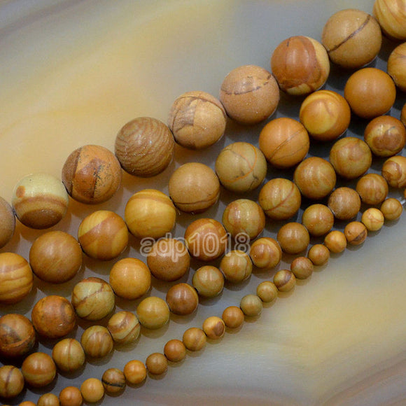 Natural Wood Grain Jasper Gemstone Round Loose Beads on a 15.5
