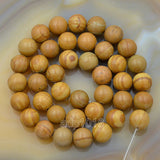 "Natural Wood Grain Jasper Gemstone Round Loose Beads on a 15.5"" Strand"