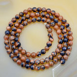 "Natural Yellow Blue Sandstone Gemstone Round Loose Beads on a 15.5"" Strand"