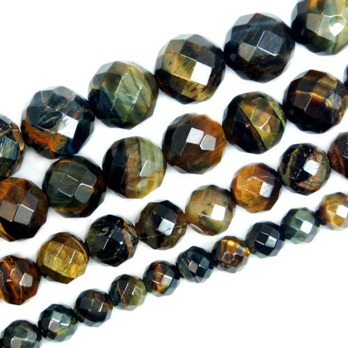 Faceted Natural Yellow Blue Tiger's Eye Gemstone Round Loose Beads on a 15.5