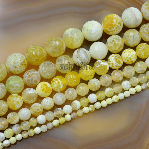 Faceted Natural Yellow Fire Agate Gemstone Round Loose Beads on a 15.5