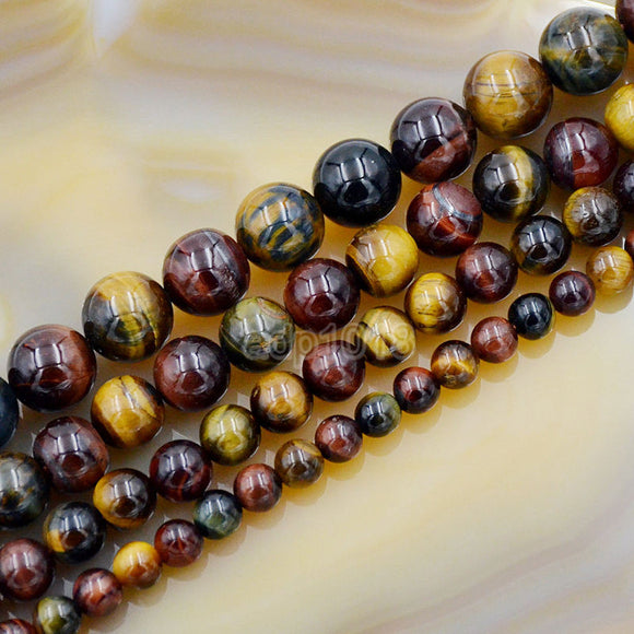Natural Yellow Red Blue Tiger's Eye Gemstone Round Loose Beads on a 15.5