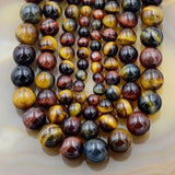 "Natural Yellow Red Blue Tiger's Eye Gemstone Round Loose Beads on a 15.5"" Strand"