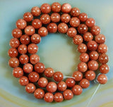 "Natural Golden Sandstone Round Loose Beads on a 15.5"" Strand"