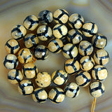 "Faceted Natural Yellow Tibetan Mystical Old Agate Gemstone Round Loose Beads on a 15.5"" Strand"