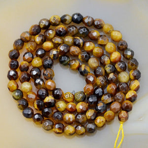 "Faceted Natural Yellow Tiger's Eye Gemstone Round Loose Beads on a 15.5"" Strand"