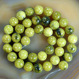 "Natural Yellow Turquoise Gemstone Round Loose Beads on a 15.5"" Strand"
