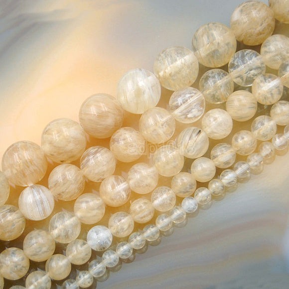 Natural Yellow Volcano Quartz Round Loose Beads on a 15.5