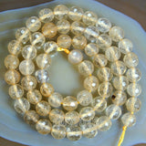 "Faceted Natural Yellow Volcano Quartz Gemstone Round Loose Beads on a 15.5"" Strand"