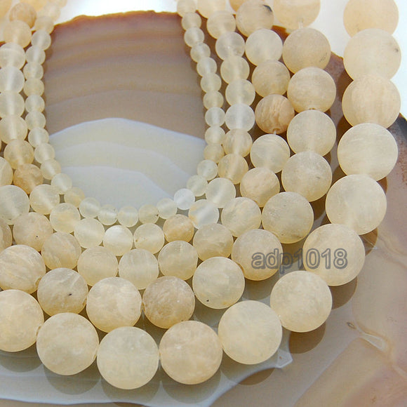 Matte Natural Yellow Volcano Quartz Gemstone Round Loose Beads on a 15.5