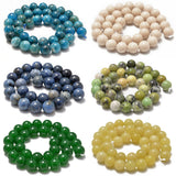 "AD Beads Natural Gemstone Smooth Round Loose Beads 15"" 6mm 8mm 10mm"