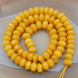 "Yellow Amber Faceted Jade Rondelle Beads 15"" 2x4mm 4x6mm 5x8mm"
