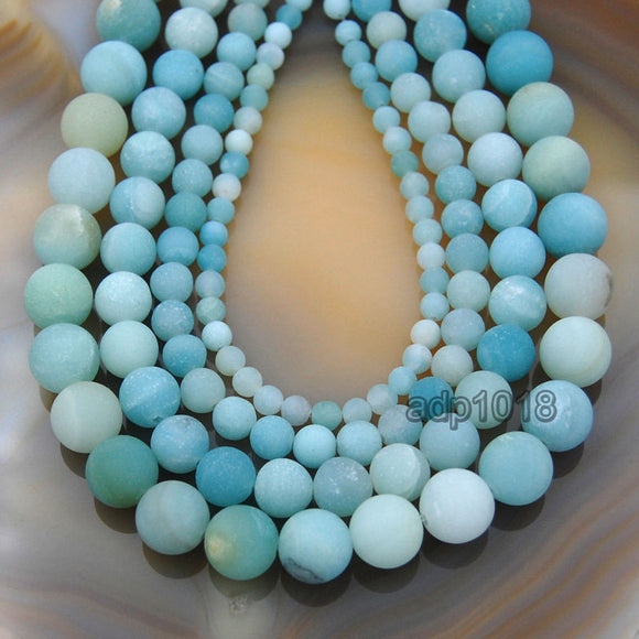 Matte Natural Blue Amazonite Gemstone Round Loose Beads on a 15.5