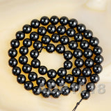 "Natural Black Tourmaline Gemstone Round Beads 15.5"" 4mm 6mm 8mm 10mm 12mm A Grad"