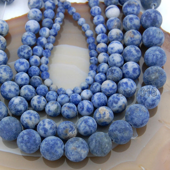 Matte Natural Blue Spot Jasper Gemstone Round Loose Beads on a 15.5