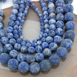 "Matte Natural Blue Spot Jasper Gemstone Round Loose Beads on a 15.5"" Strand"