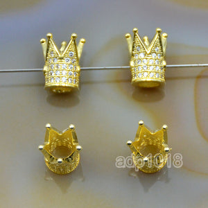 King Crown Clear or Black Cubic Zirconia Rhinestones Spacer 18K Plated Metal Finding Connector Charm Beads